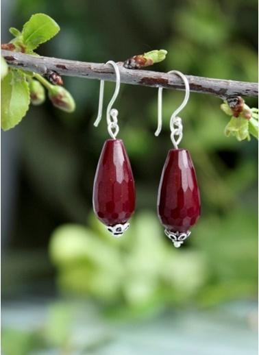 Stoneage Gümüş Küpe Kırmızı Ceyt Doğal Taş Renkli